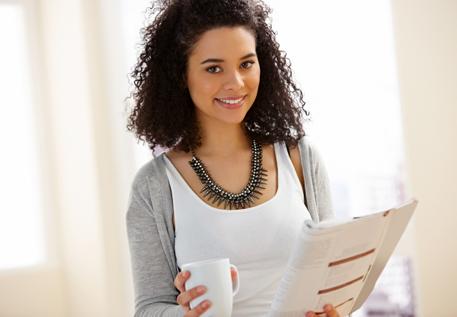 A woman reading plain English information
