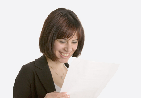 Woman reading easy read information